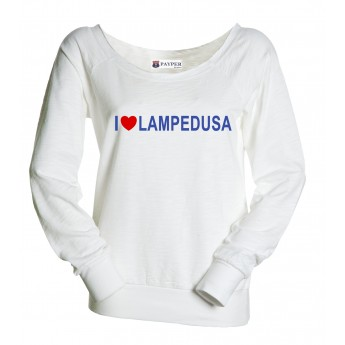6048d1c5308313 Felpa donna bianca - I Love Lampedusa