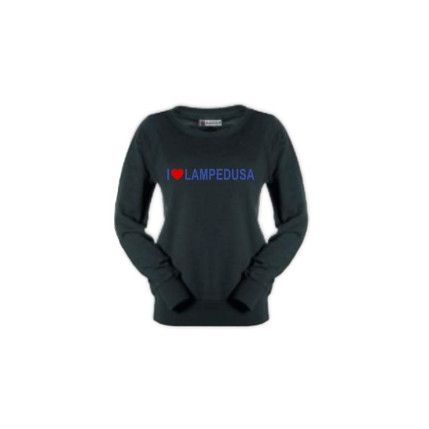 b2b35d53d9ef45 Felpa donna nera - I Love Lampedusa